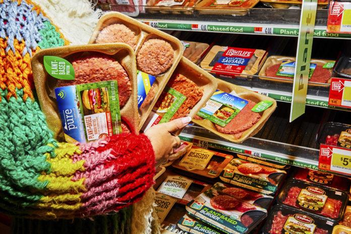 Packages of vegetarian food